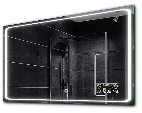 BARCELONA Badspiegel mit LED Beleuchtung mit WETTERSTATION und LICHTSCHALTER