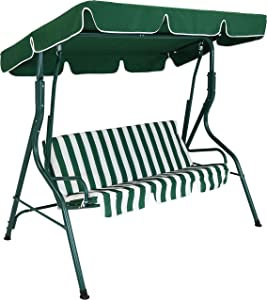 Sunnydaze Outdoor Porch Swing with Adjustable Canopy and Durable Steel Frame, 2-Person Patio Seater, Green Striped Seat Cushions