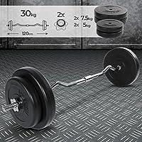 Barra Curl Z con Pesas 30 kg Bíceps