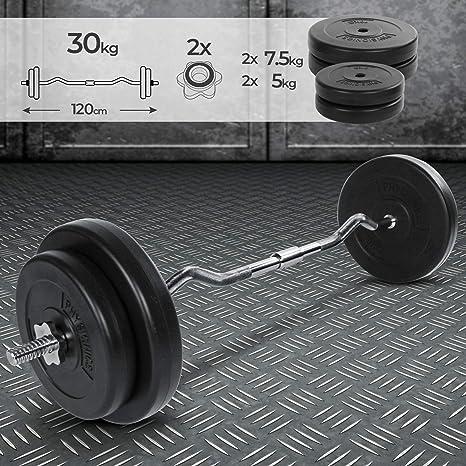 Barra Curl Z con Pesas 30 kg Bíceps Musculación: Amazon.es ...