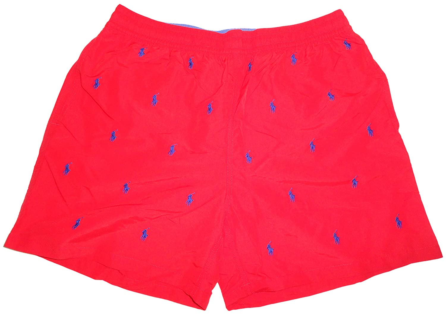 Polo Ralph Lauren Mens All Over Pony Swim Trunks Red with Blue Ponys  (Small) | Amazon.com