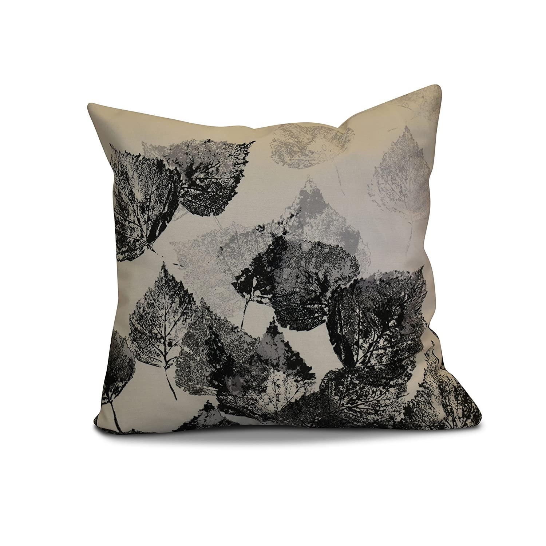 E by design PFN748GY2BK4-26 26 x 26-inch, Fall Memories, Floral Print Pillow 26x26 Black