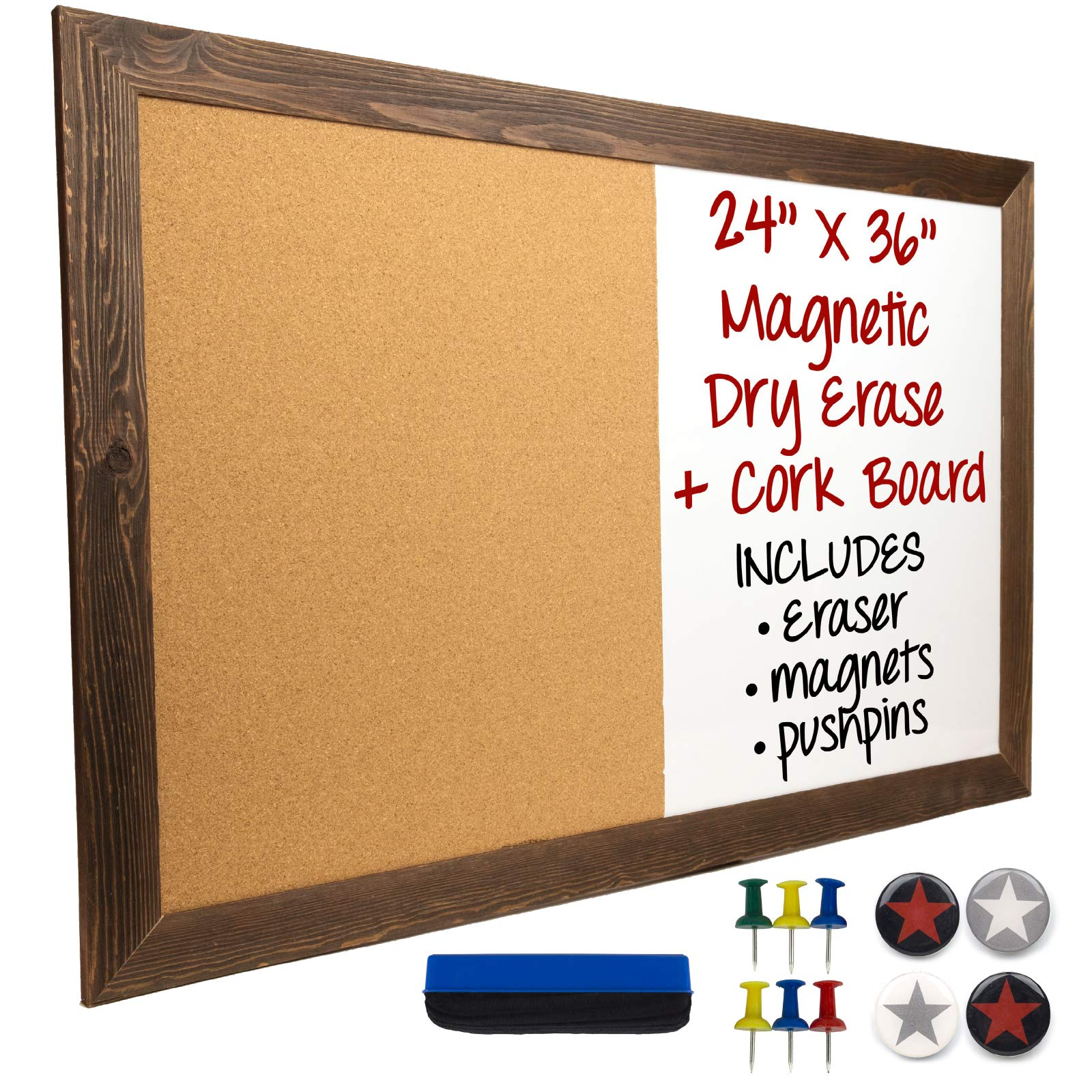 Dry Erase Cork Board Combo: Magnetic White Board with Cork Bulletin & Rustic Wooden Frame for Home, School, Office - 24''x36''