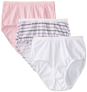 021ade6b21a8 Fruit of the Loom Women's 3 Pack Assorted Cotton Brief Panties at Amazon  Women's Clothing store: