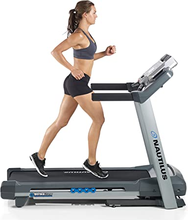 side facing nautilus t614 treadmill