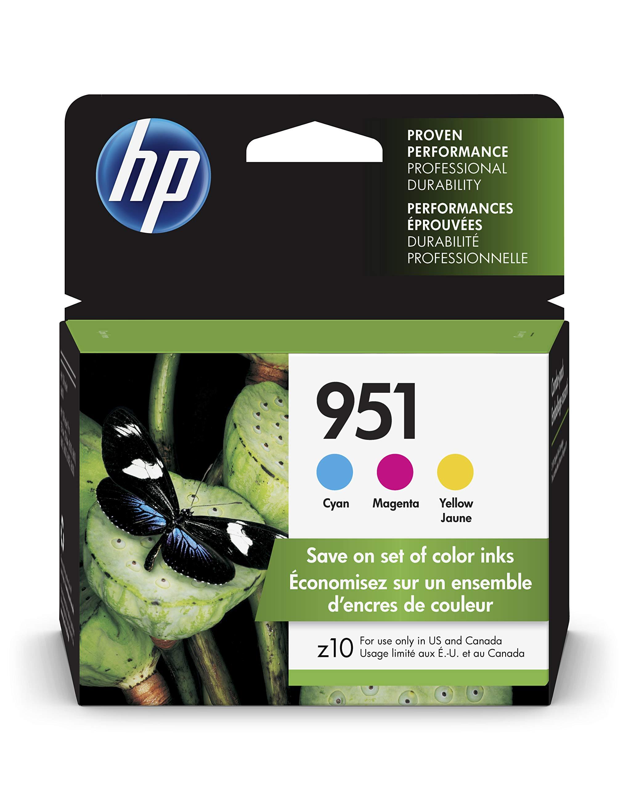 HP 951 Ink Cartridges: Cyan (CN050AN), Magenta (CN051AN) & Yellow (CN051AN), 3 Ink Cartridges (CR314FN) for HP Officejet Pro 8610 8600 8620 8100 251dw 8630 8625 8615 276dw