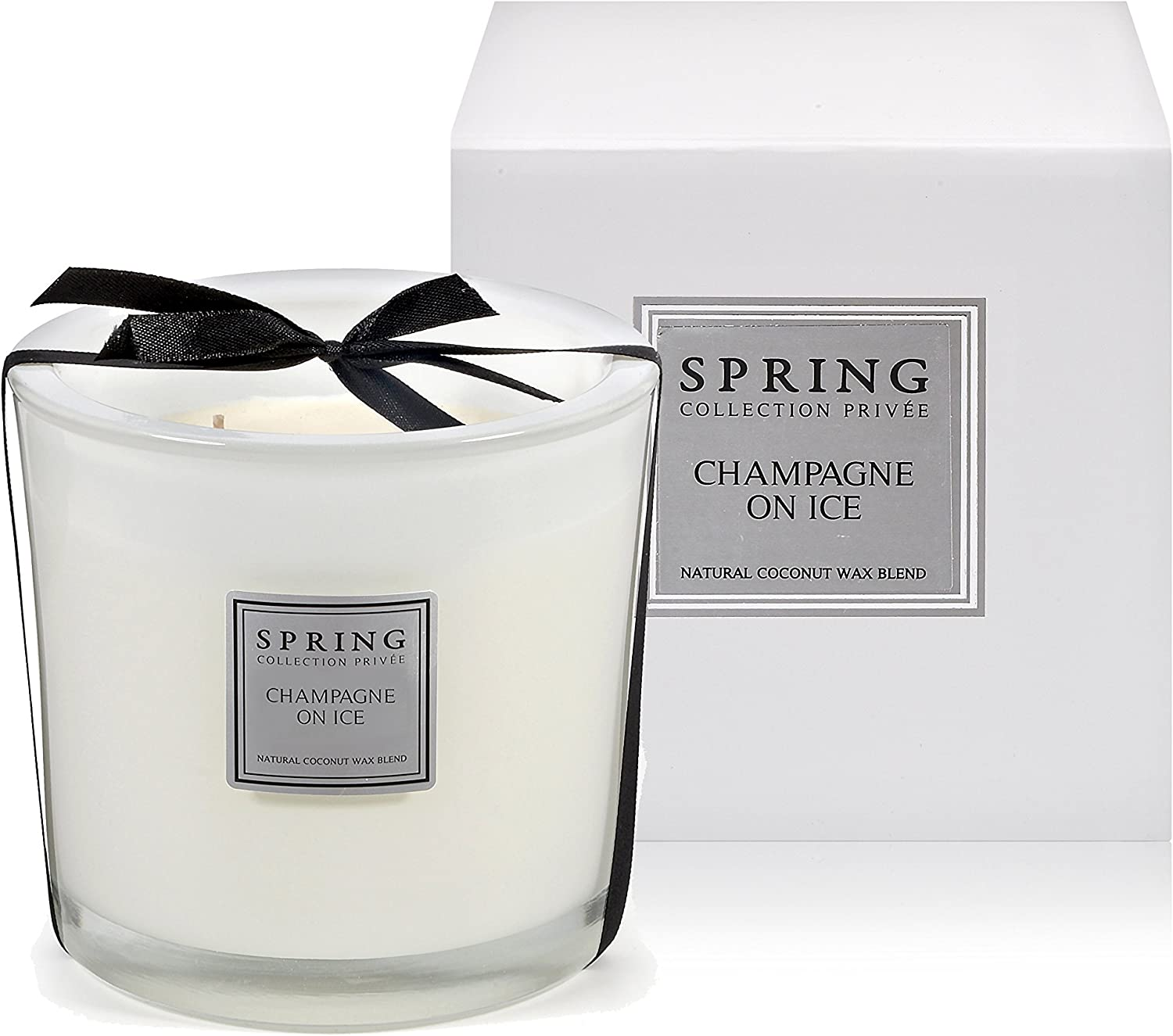 Spring Private Collection Natural Coconut Wax Blend Scented Candle Cylinder (14.1 oz / 400 gr, Champagne on Ice). Great Smelling Gift for Mother & Father. Spa Quality Natural Candles