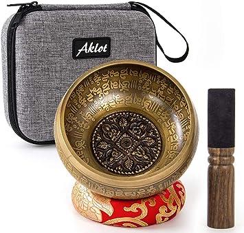 Amazon.com: Aklot - Juego de cuencos de canto hechos a mano ...