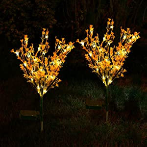 Doingart 2 Pack Solar Garden Lights Outdoor Decorative, Aritificial Canola Flowers Lights, Led Lights Waterproof Outdoor, Solar Powered Flower Lights for Patio Garden Yard Lawn Pathway