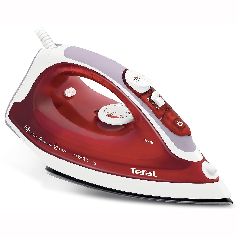 Tefal, (FV3776) ferro da stiro a vapore Maestro, piastra in ceramica, vapore extra 110 g/min, funzione di pulizia automatica, antigoccia, rosso (FV3776)ferro da stiro a vapore Maestro