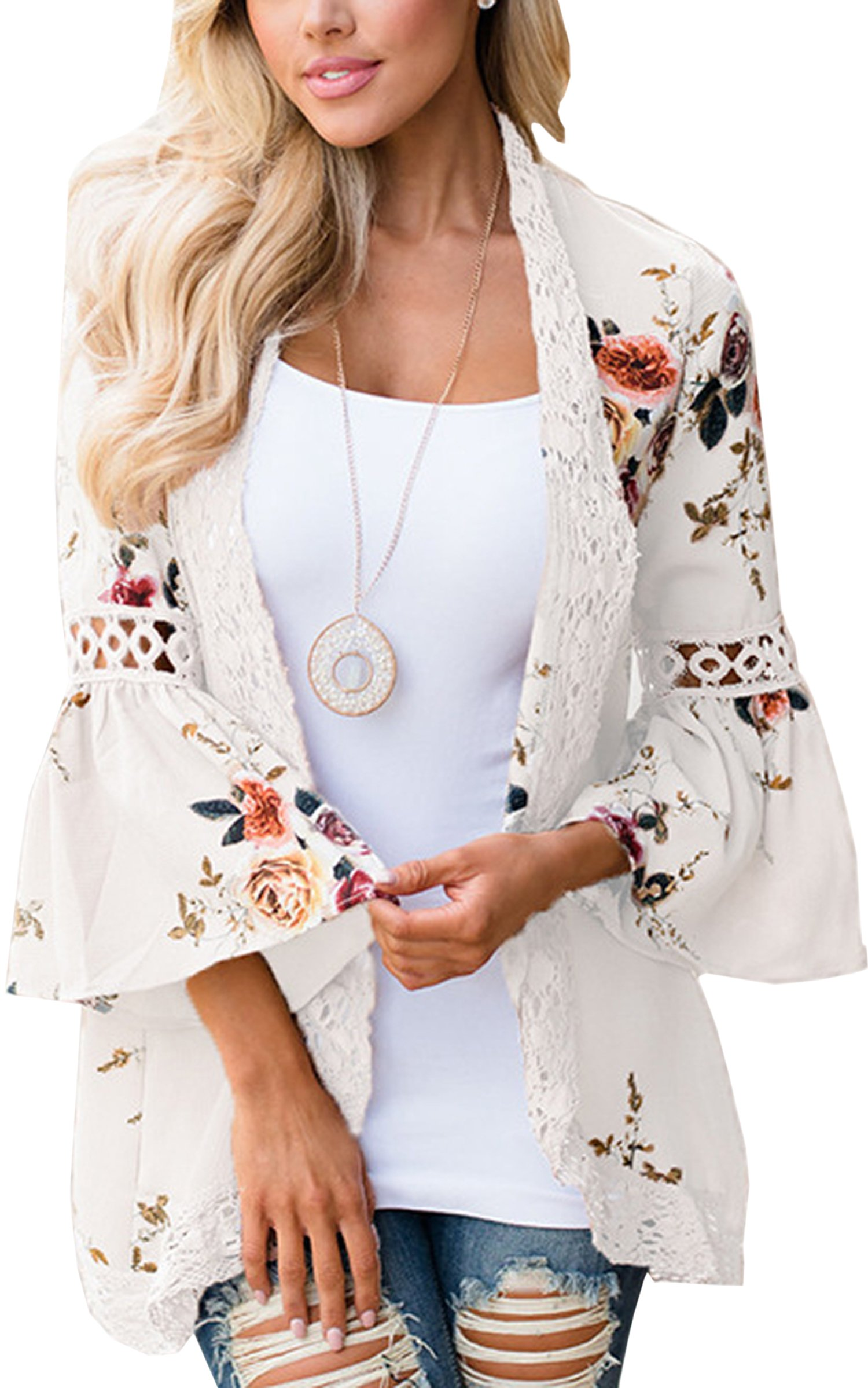 Hibluco Women's Casual Flare Sleeve Lace Hem Floral Cardigan