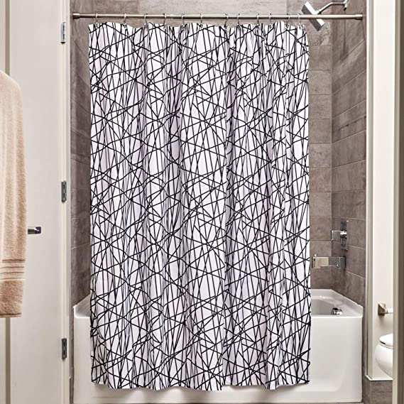 Idesign Abstract Fabric Shower Curtain For Master Guest Kids College Dorm Bathroom 72 X 72 Black And White Home Kitchen