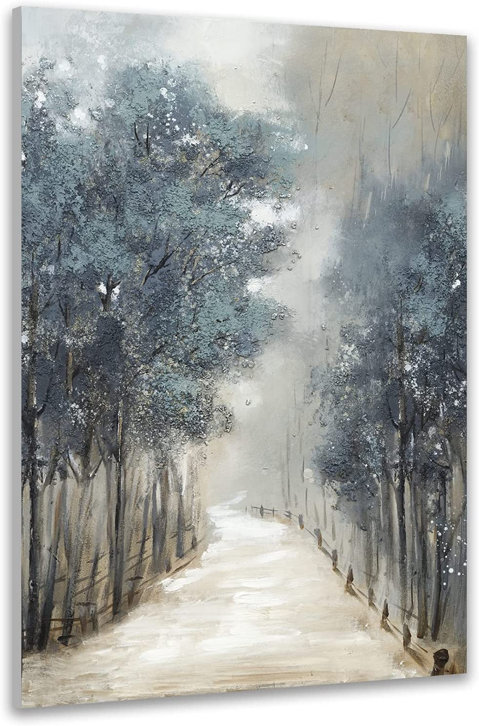 TRAIN2 ART Tree Wall Art for Living Room Hand-Painted Forest Oil Painting Wall Art on Canvas, Abstract Oil Paintings Modern Home Decor Landscape Artwork Stretched and Framed Ready to Hang 24