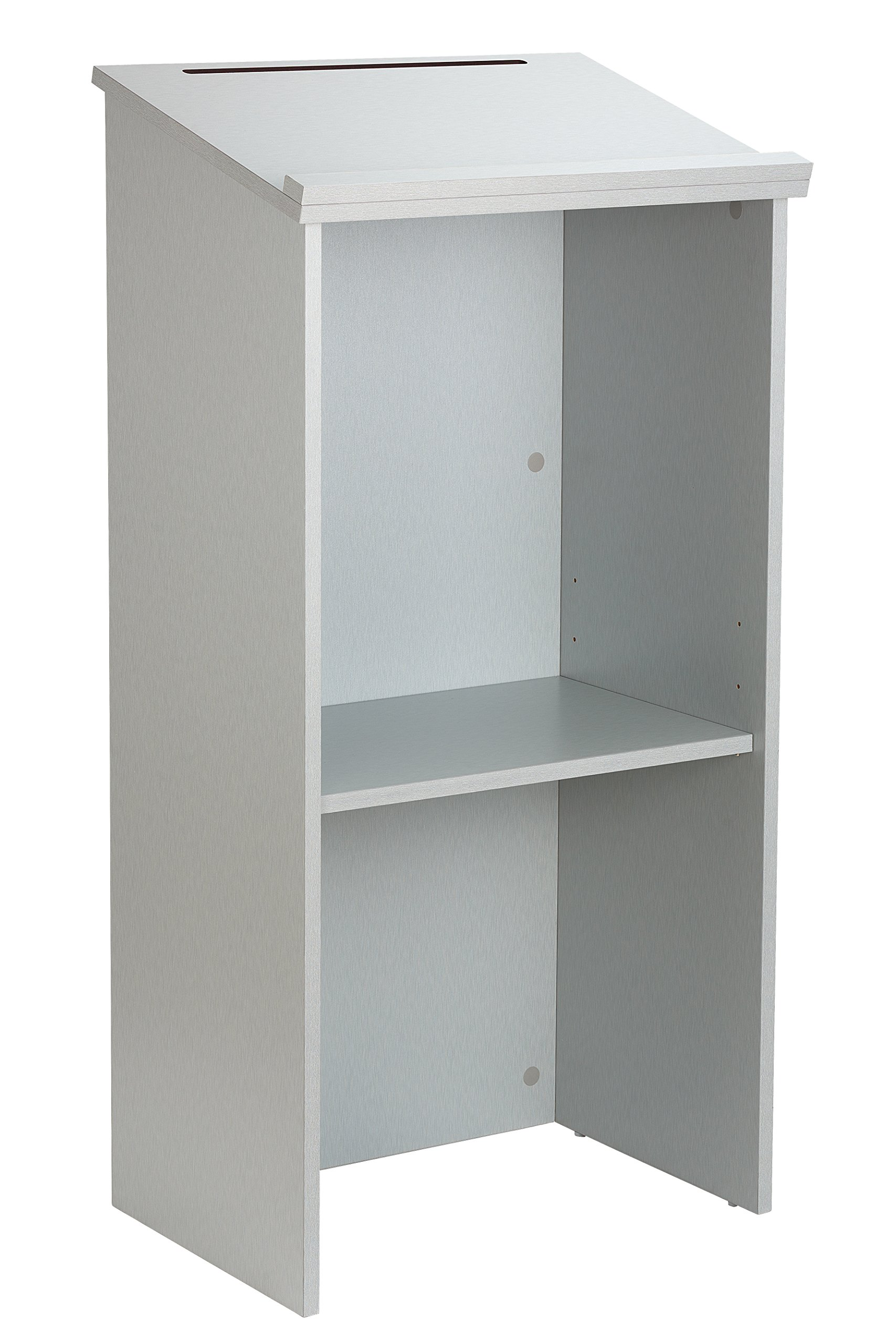 AdirOffice Stand up, Floor-Standing Podium, Lectern with Adjustable Shelf and Pen/Pencil Tray (Silver Grain)