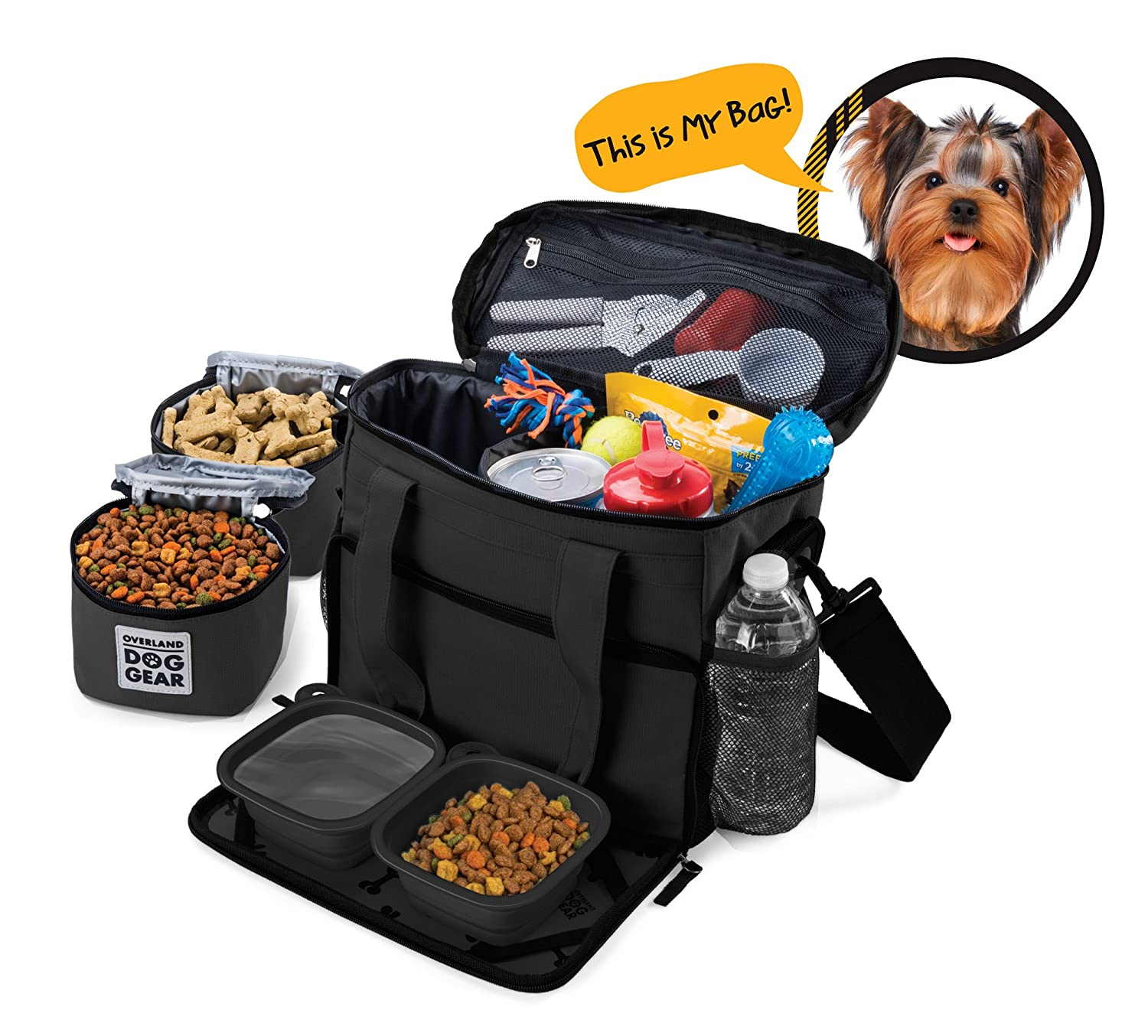 Black Dog Travel Bag Week Away Tote For Small Dogs Includes Bag, 2 Lined Food Carriers, Placemat, and 2 Collapsible Bowls