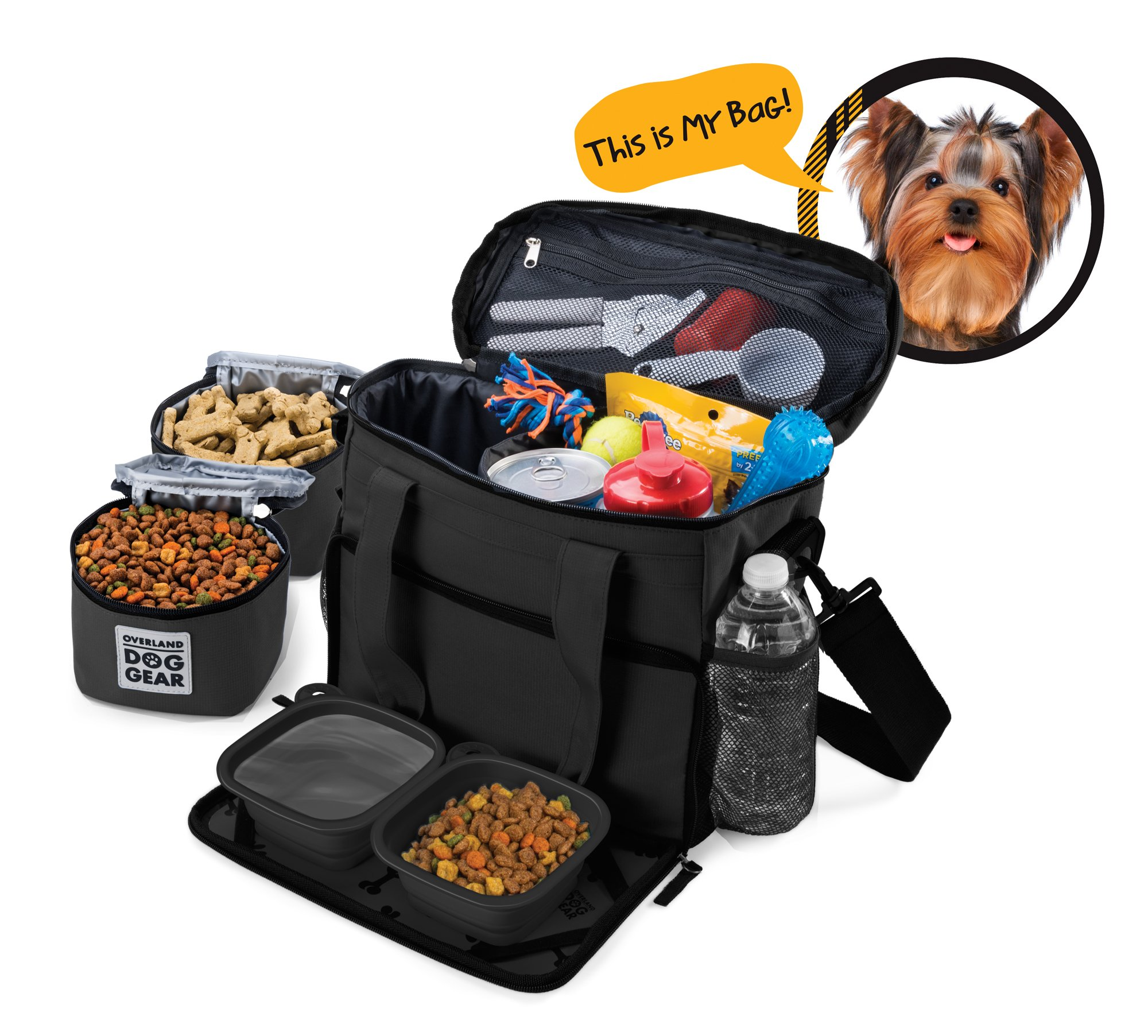 Overland Travel Dog Tote Bag Includes Collapsible Silicone Bowls by Overland Travel