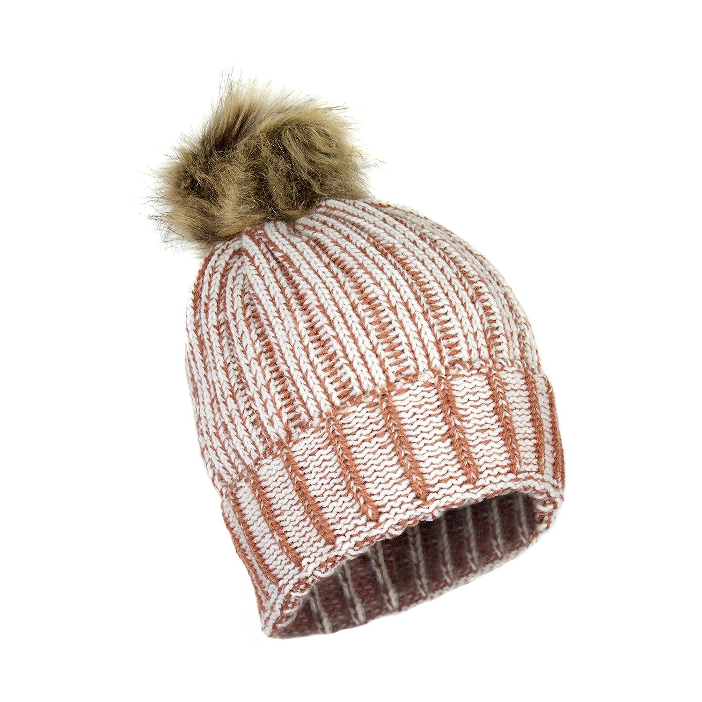 5d749bdf91d Urban Winter Ribbed Chunky Knit Marled Stretch Cuff Beanie- Hat w Vegan Fur  Pom Pom (Marled Pumpkin Rust) at Amazon Women s Clothing store
