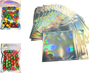 RELIBRANDS| Mylar Bags (100 pcs) Holographic 4x6 Storage Bags for Food, Crafts, Organization, etc. Resealable and Heat-Sealing Pouch with Clear Frosted Window; Smell-Proof; Waterproof; Travel Size