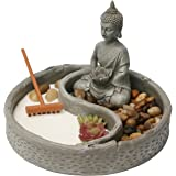 Nature's Mark, Mini Meditation Zen Garden, 6 x 6 Inches Round with Lotus, Buddha Figures and Natural River Rocks (Buddha…