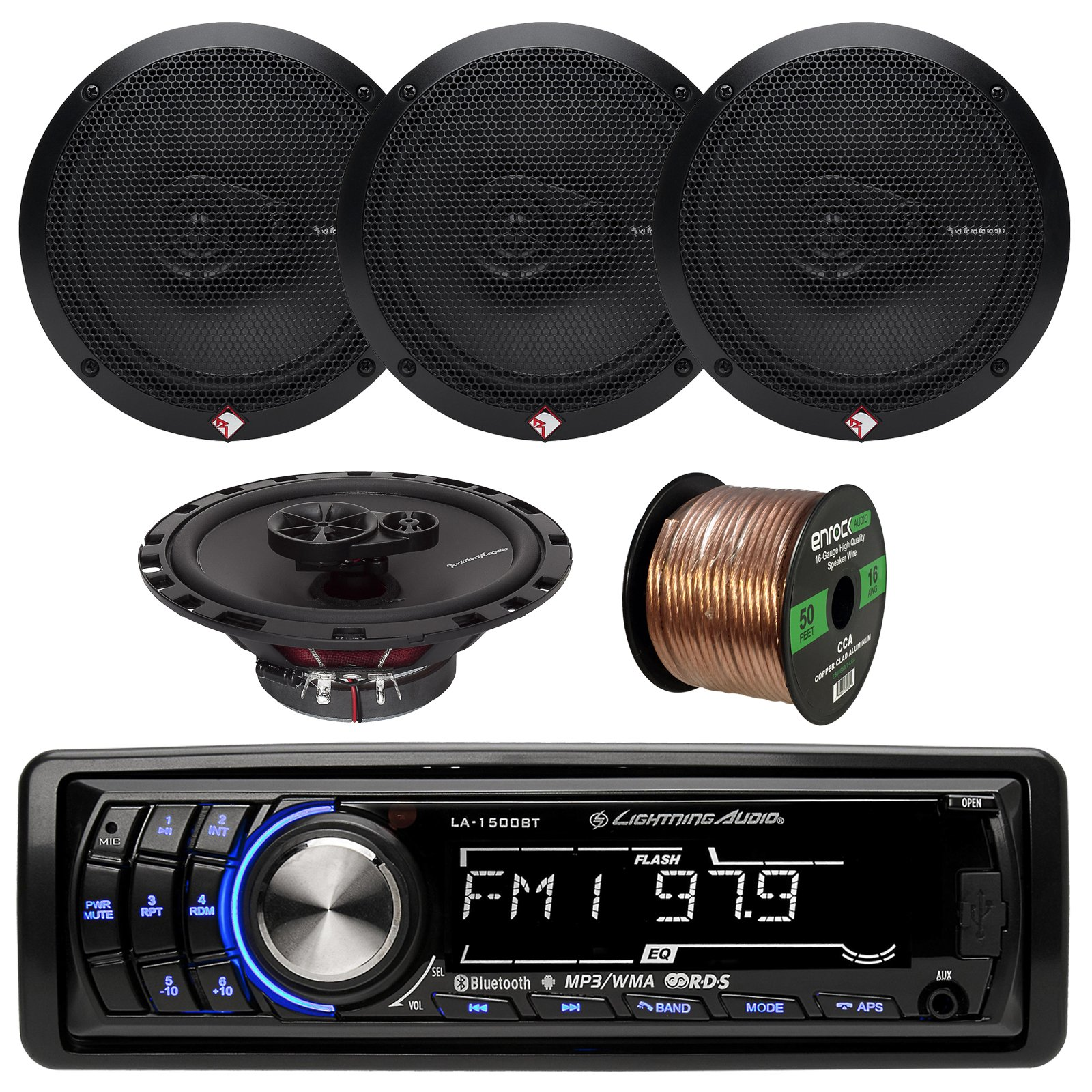 Lightning Audio LA1500BT MP3 Bluetooth Stereo Receiver Player Bundle Combo With 4x Rockford Fosgate R165X3 Prime 6.5'' Inch 180 Watt 3-Way Coaxial Speakers + Enrock 50 Foot 16 Gauge Speaker Wire