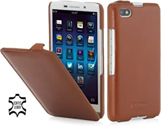 StilGut® UltraSlim, Housse, étui, Coque en Cuir pour Blackberry Z30, en Cognac