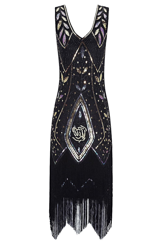 Black+gold Metme Women's 1920s Vintage Flapper Fringe Beaded Great Gatsby Party Dress