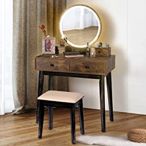 TWING Vanity Table Set,Vanity Set with LED Light Makeup Dressing Table Touch Screen Dimming Mirror Vanity Desk with 4 Drawers,Brown