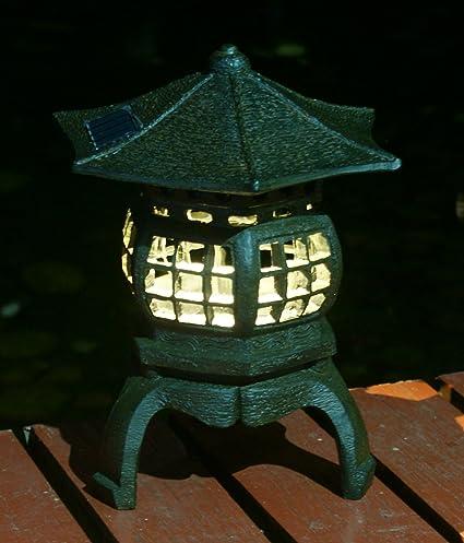TIAAN 12u201d Height Japanese Lantern Solar Garden Lamp Solar Pagoda Light