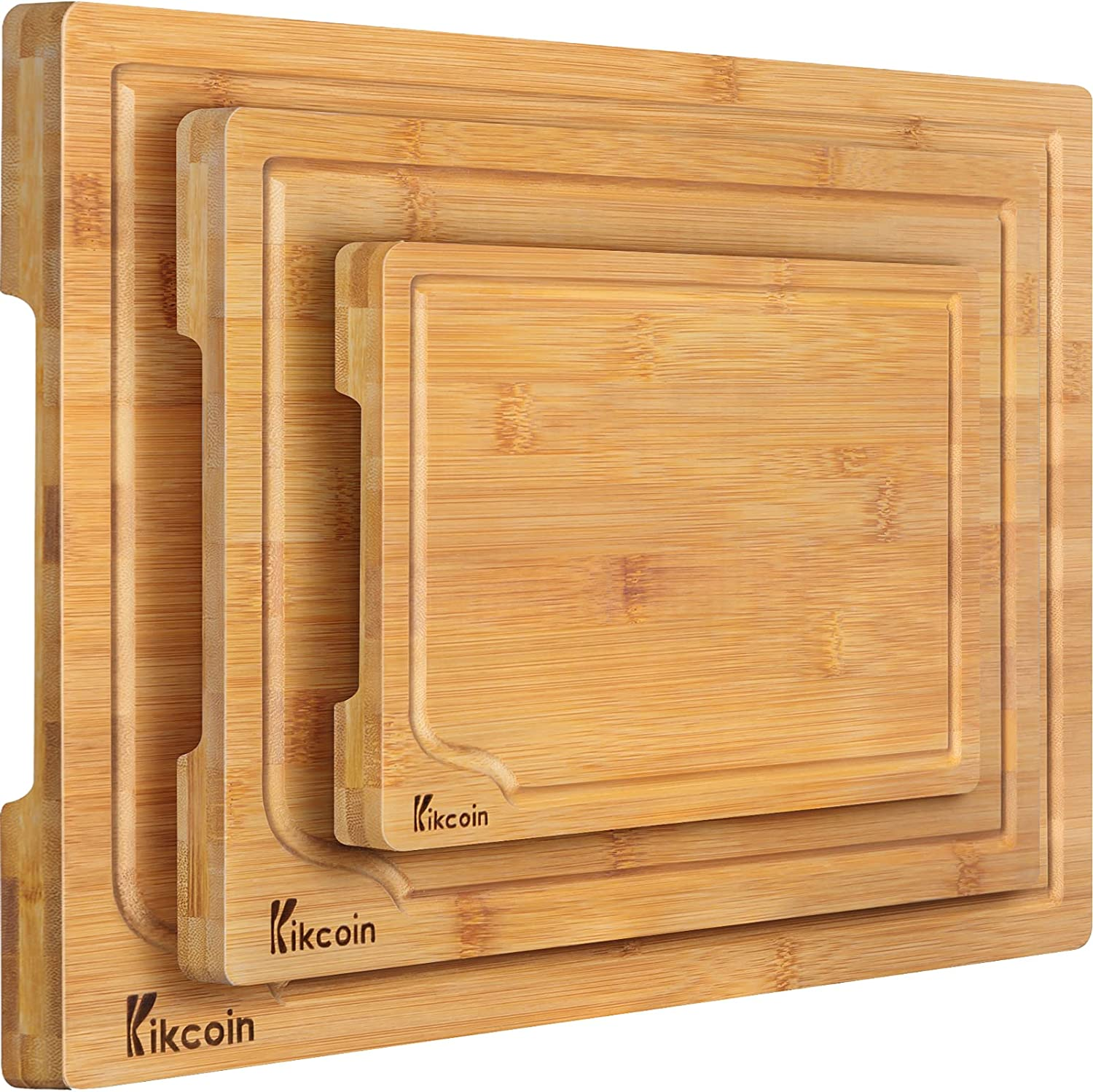 Bamboo Cutting Board, 3-Piece Kitchen Chopping Board with Juice Groove and Handles Heavy Duty Serving Tray Wood Butcher Block and Wooden Carving Board, Extra Large, Kikcoin