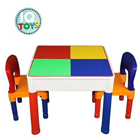 Amazon.com: Kids Table & Chairs 3 in 1 Lego & Duplo Compatible ...