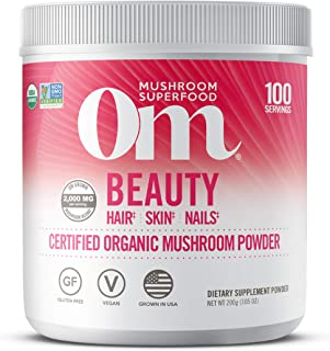 product image for Om Organic Mushroom Superfood Powder, Beauty: Hair Skin Nails, (100 Servings), Chaga, Cordyceps & Maitake, Antioxidants, Immune Support Supplement, 7.05 Ounce (Pack of 1)