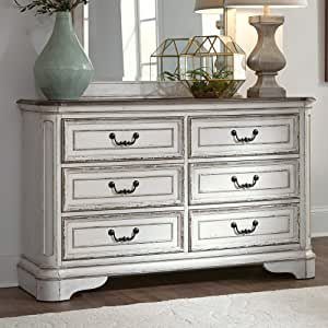 Liberty Furniture Industries Magtnolia Manor 6 Drawer Dresser, W54 x D18 x H34, White