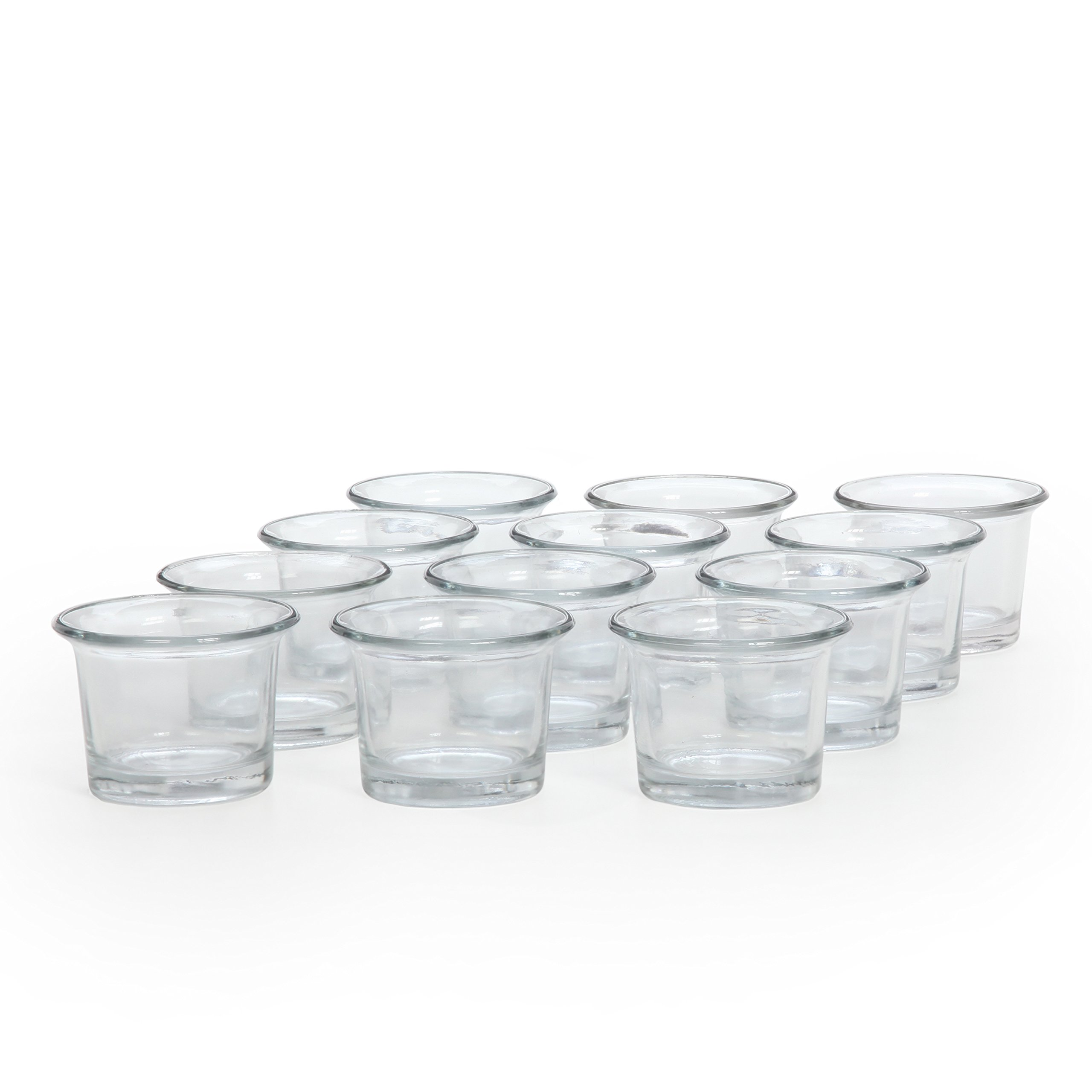 Hosley Set of 12 Clear Glass Oyster Tea Light Holders - 2.5'' Diameter. Ideal Gift for Spa, Aromatherapy, Weddings, Tealights, Votive Candle Gardens