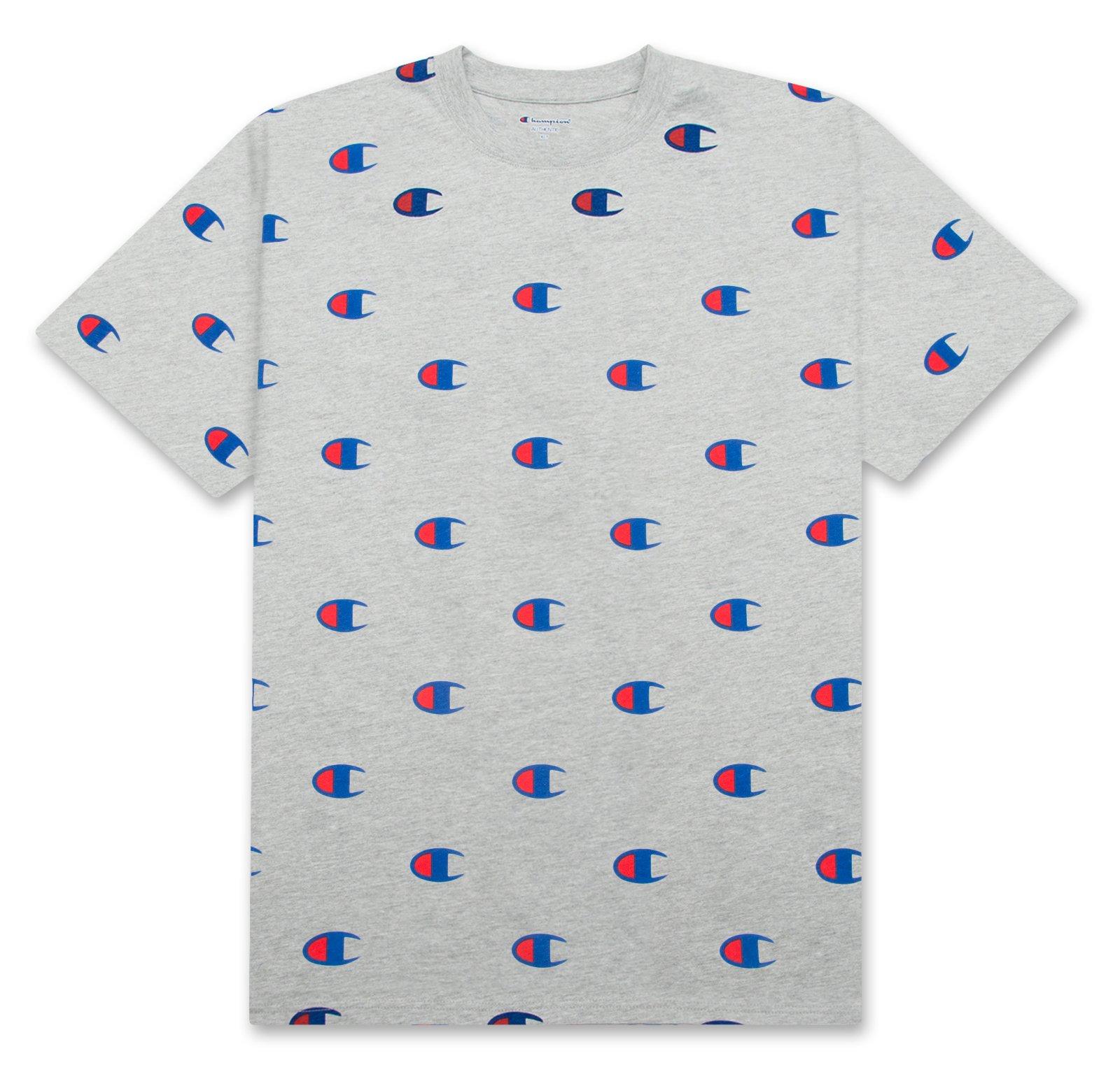 wylot online najlepsza wyprzedaż najniższa cena Champion Mens Big and Tall All Over Print Logo T Shirt HEATHERGREY 4XT