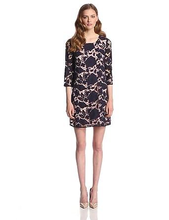 ERIN erin fetherston Women's Amaryllis Lace 3/4Sleeve Shift Dress, Eclipse, 6