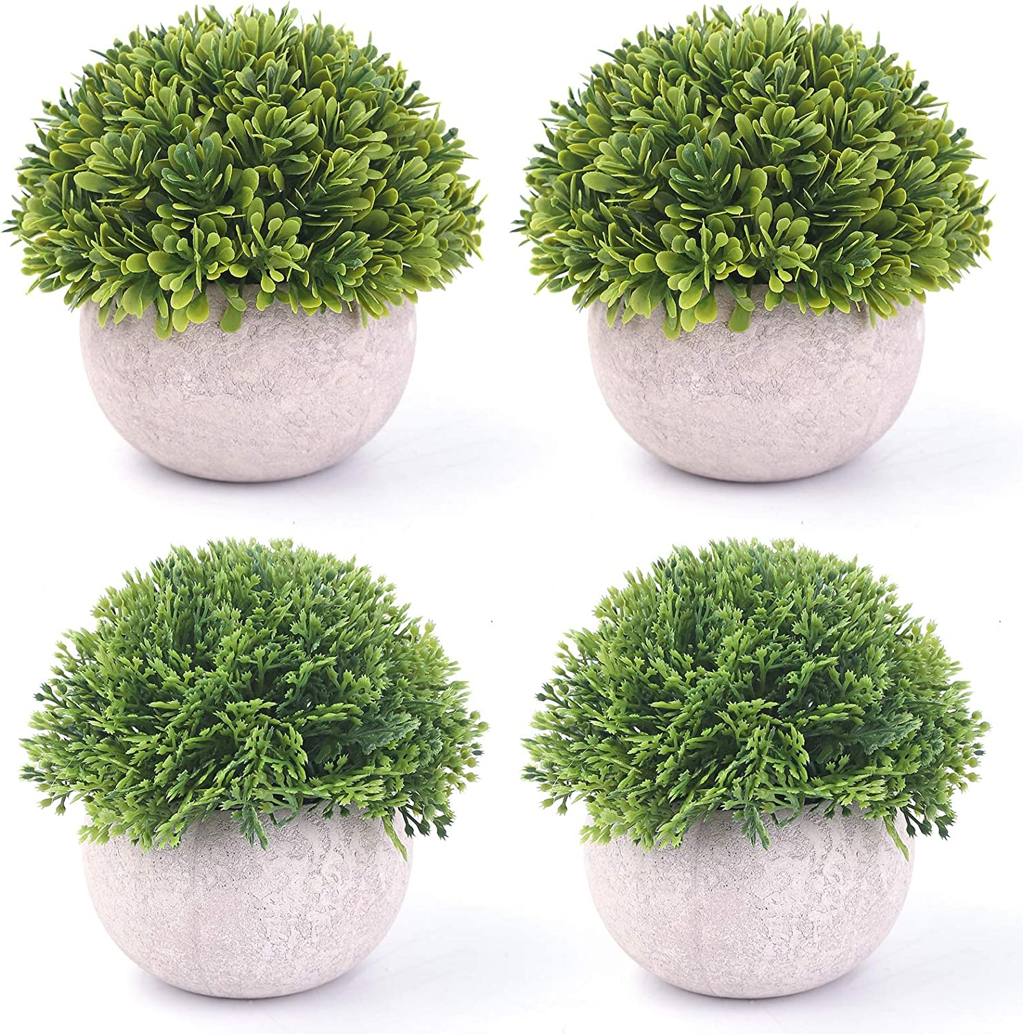 BOMAROLAN 4 Pcs Mini Potted Plastic Artificial Green Plants, Fake Topiary Shrubs Fake Plant, Small Faux Greenery, for Bathroom Home Office Desk Decorations (Potted Plants)