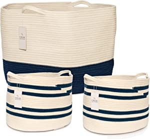 Chloe and Cotton Woven Coiled Rope Storage Baskets XXXL 15 x 21 inch and Set of 2 Cubby Baskets Navy White Handles | Decorative Laundry Clothes Hamper, Blanket, Towel, Baby Nursery Bin Cute Organizer
