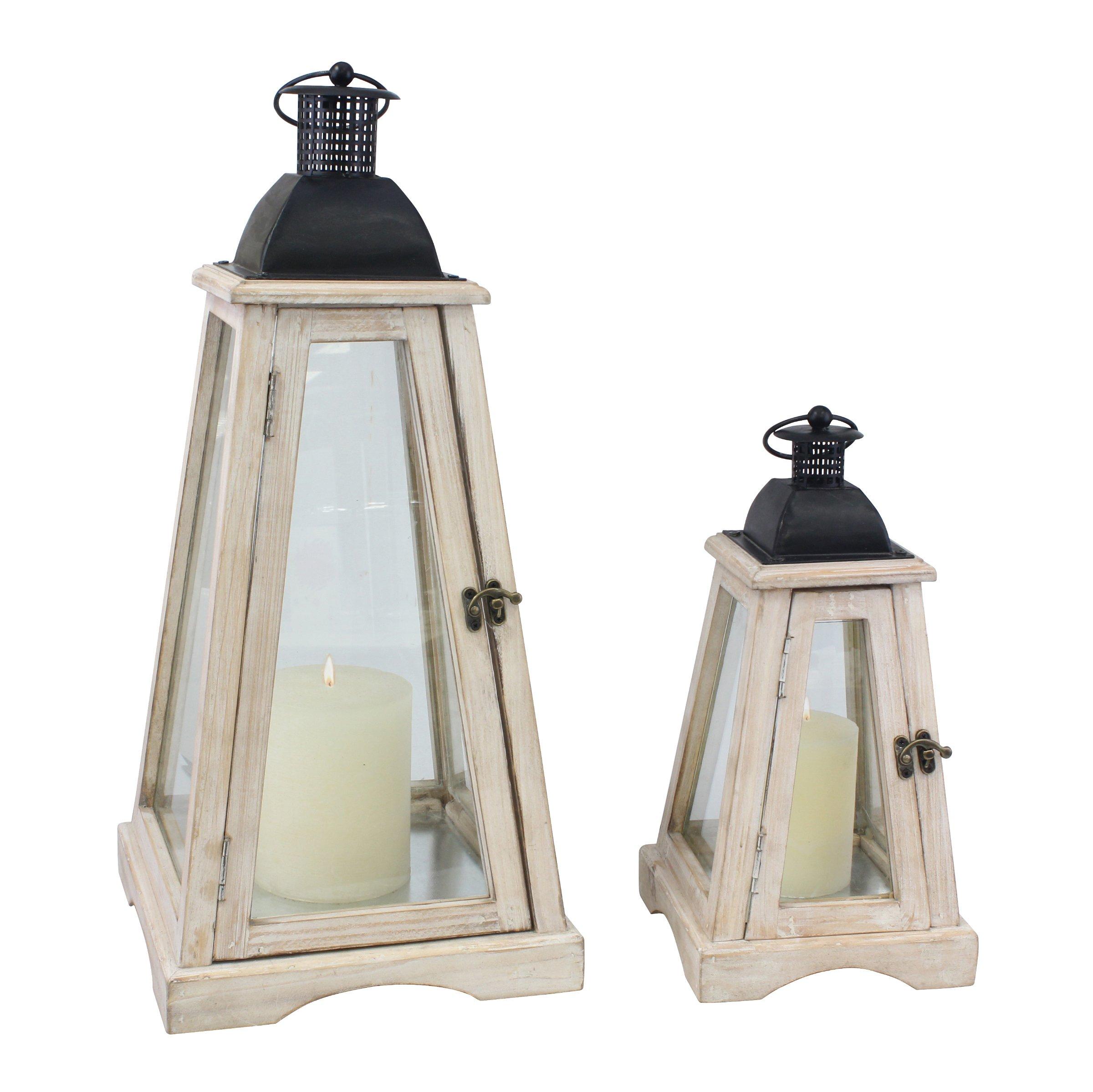 Stonebriar 2pc Worn White Wood Coastal Wooden Candle Lantern Set, Large