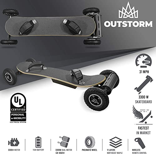 OUTSTORM 31MPH Off Road Electric Skateboard 3300w Motorized Mountain Longboard with Dual Motors – 11 Layers, All-Terrain, 4 Wheels, Remote Controlled High Speed Board