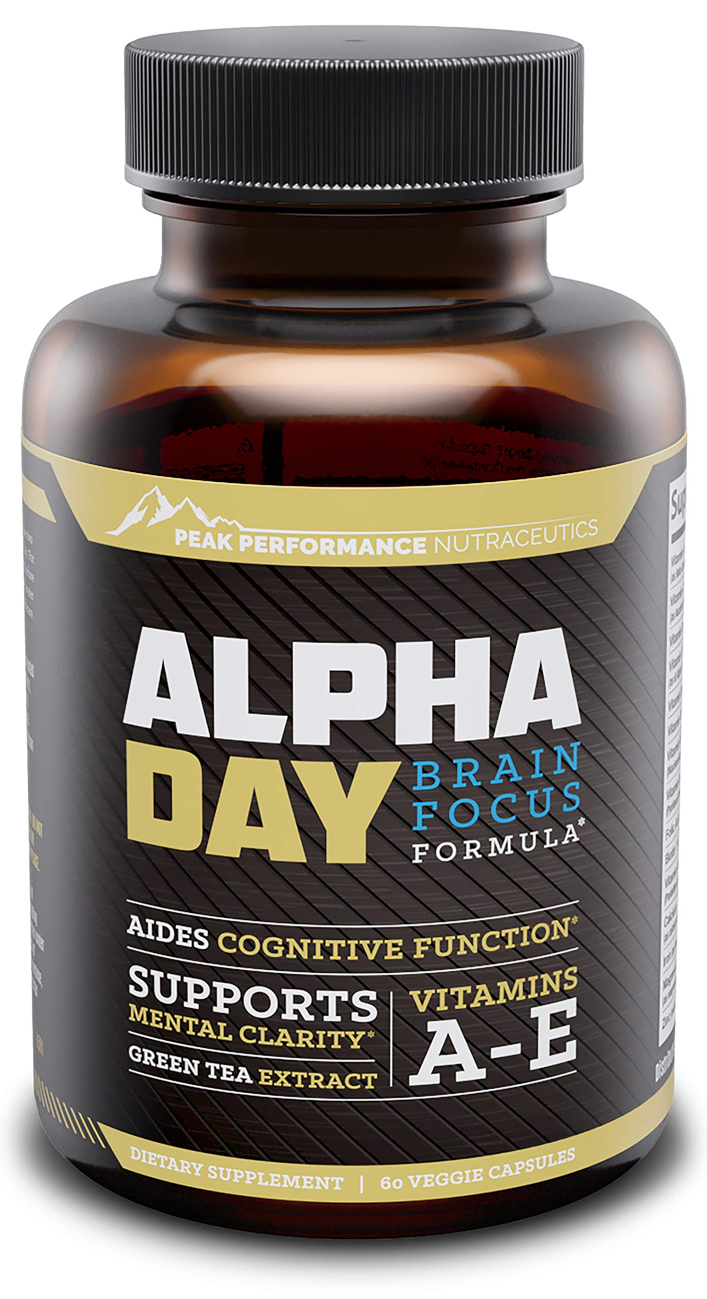 Alpha Day Nootropic Brain Supplement Vitamins. Focus and Energy Pills, Memory Booster, Mental Clarity, Concentration Support and Cognitive Enhancement. Bacopa Monnieri, Huperzine A and DMAE. 60 Pills by Peak Performance Nutraceutics