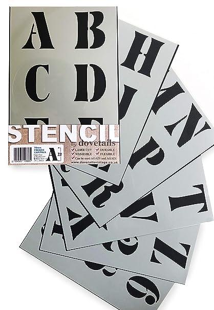 Stencil Per Cucina Moderna.French Stencil Alfabeto E Numeri 7 Cm Di Altezza Grande Maiuscole Moderno Su 6 Fogli Di 295 X 200 Mm