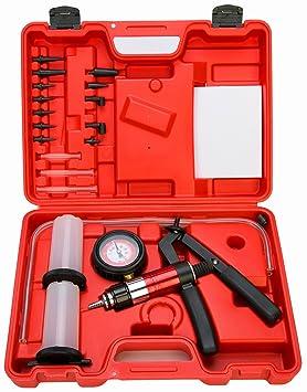 FreeTec Kit medidor de presión y vacío de mano de la bomba de presión y del líquido de purgado de frenos, 21 piezas: Amazon.es: Coche y moto