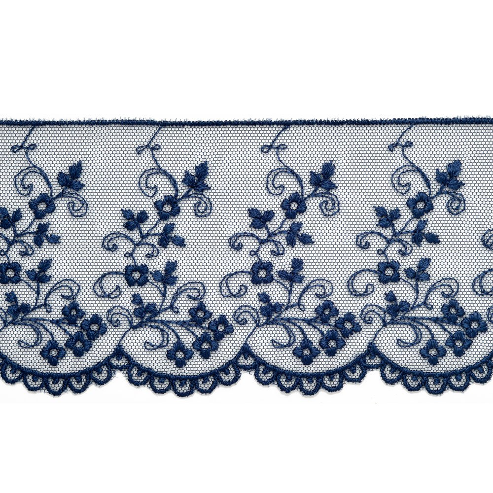 2e40dcf570 Amazon.com  Navy Flower Embroidered Tulle lace Trim