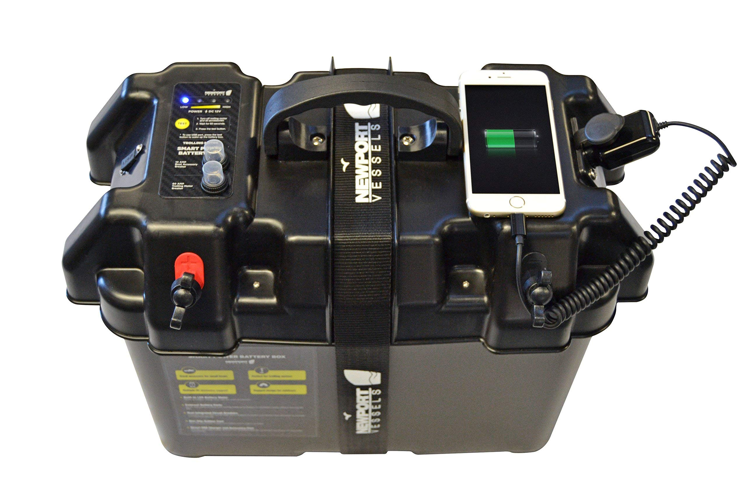 Newport Vessels Trolling Motor Smart Battery Box Power Center with USB and DC Ports (Renewed) by Newport Vessels