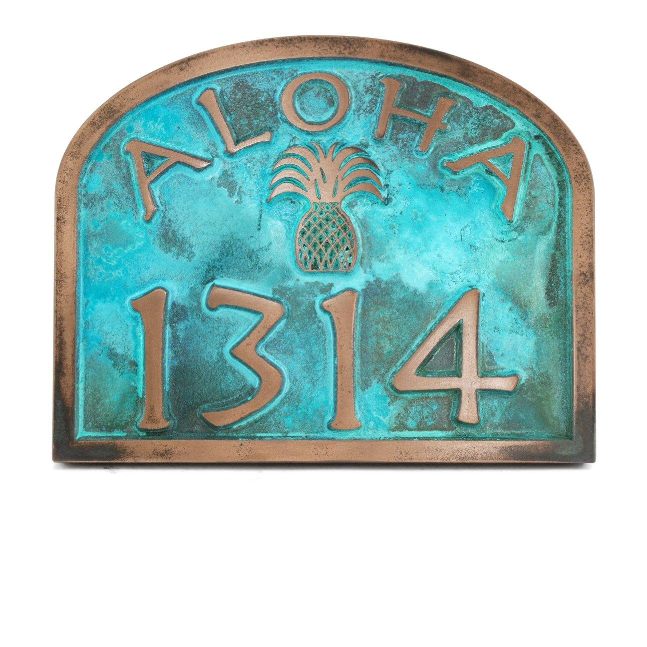 Aloha Address Plaque with Pineapple and Border 12x9.5 - USA Made - Raised Bronze Verdi Coated