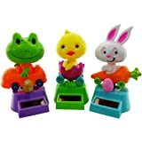 Dancing Animal Toys: Spring Easter Solar Powered Dancing Bunny, Chick and Frog each in its own motorized vehicle (3 Pack) | Cool Home Party Décor Or Gift Idea