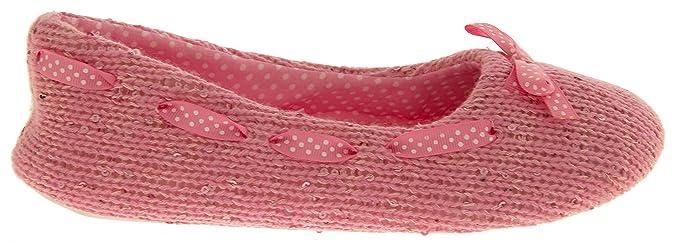 Cara & Mia Mujer Color De Rosa Zapatillas De Ballet De Lentejuelas De Punto EU 36 YCsBtvD0