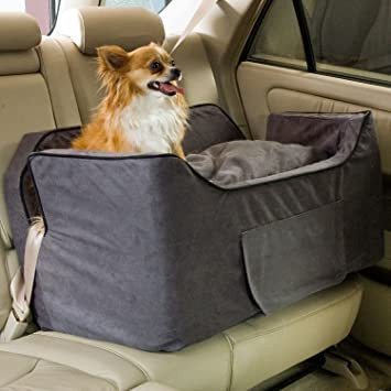 Snoozer Large Luxury Lookout Ii Pet Car Seat Anthracite Black Microsuede