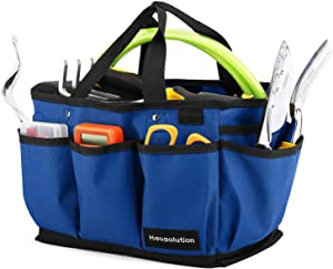 Housolution Gardening Tote Bag, Deluxe Garden Tool Storage Bag and Home Organizer with Pockets, Wear-Resistant & Reusable, 12 Inch, Blue