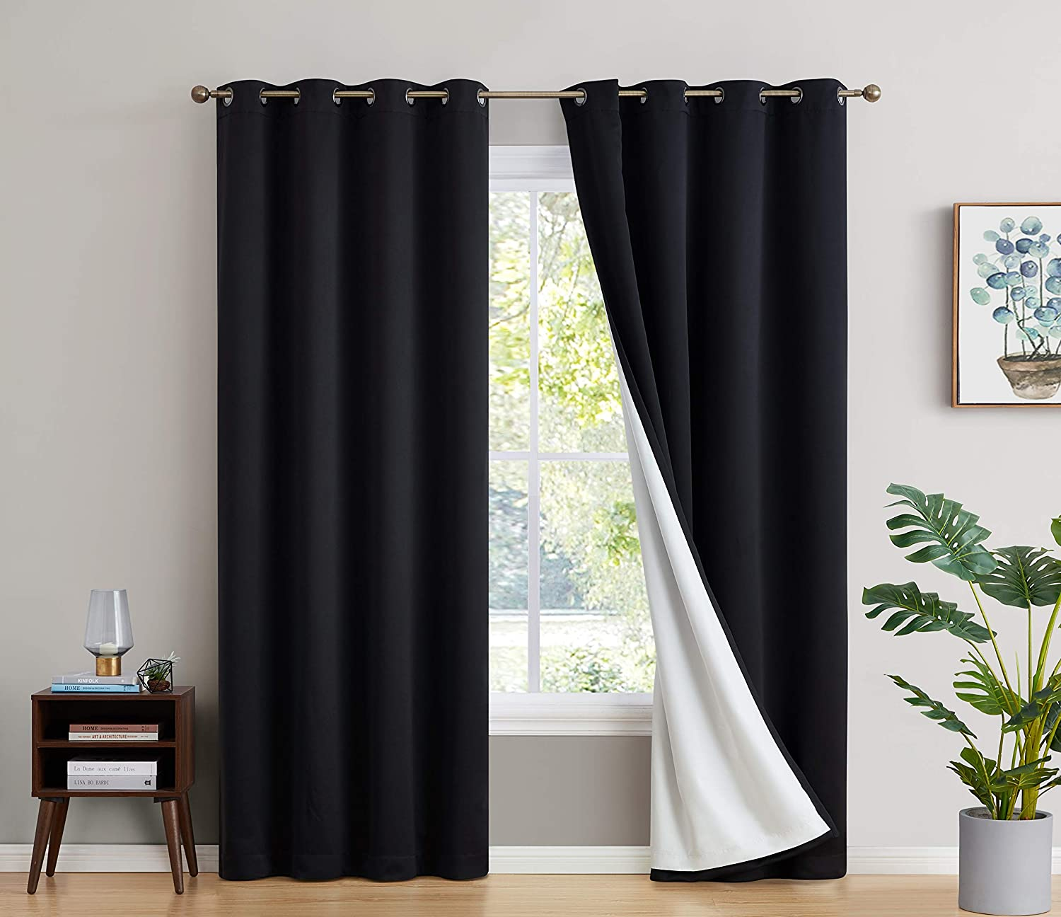 HLC.ME 100% Complete Full Blackout Lined Drapery with Thick Heavy Double Layer Thermal Insulated Soundproof Long Window Curtain Grommet Panels for Bedroom...